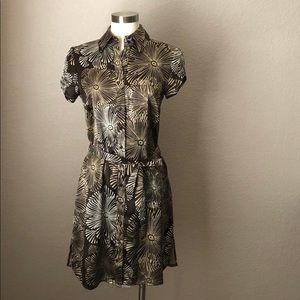 Brown Geometric Floral Collared Button Up Dress